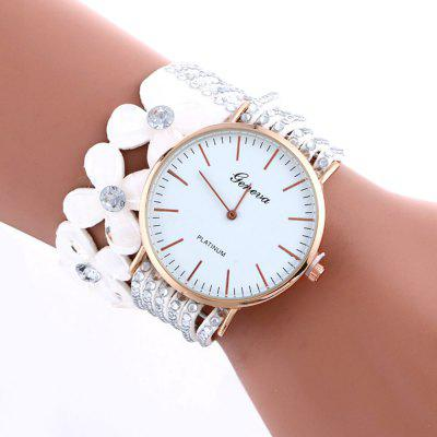 Geneva Artificial Diamond Petal Drill Multi Storey Fashion Lady Bracelet Watch