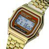 Fashion Casual Sport Digital Military Stainless Steel Square Wrist Watch - GOLD