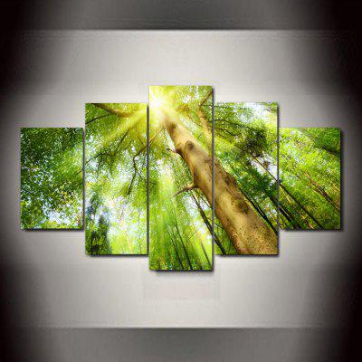 Big Tree Sunlight Frameless Printed Canvas Wall Art Paintings 5PCS wall art mechanical motor pattern canvas paintings