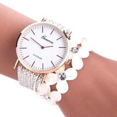 Geneva Women Four-leaf Clover Artificial Crystal Diamond Watch vinyl four leaf clover decorative wall art sticker