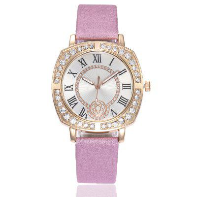 Roman Scale Ladies Artificial Diamond Watch