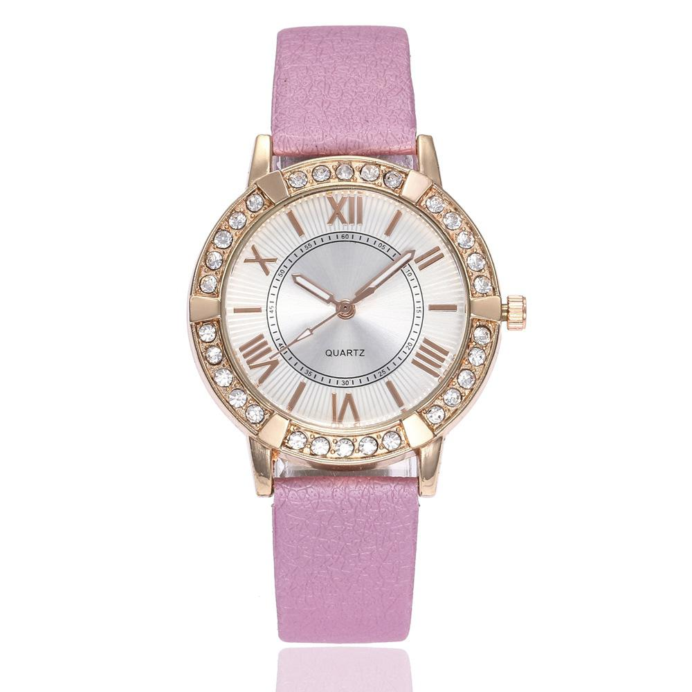 Fashion Lovely Roman Scale Dial Artificial Diamond Watch