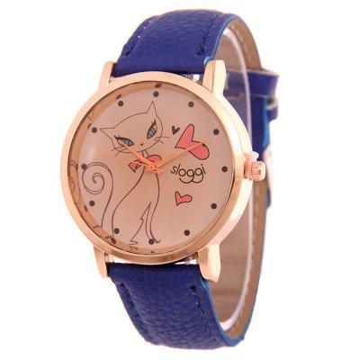 Trendy Lady Cartoon Cat Band Reloj de cuarzo