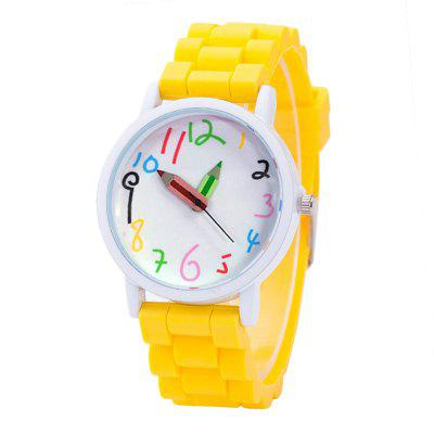 Simplified Cartoon Pointer Pointer Quartz Wrist Watch