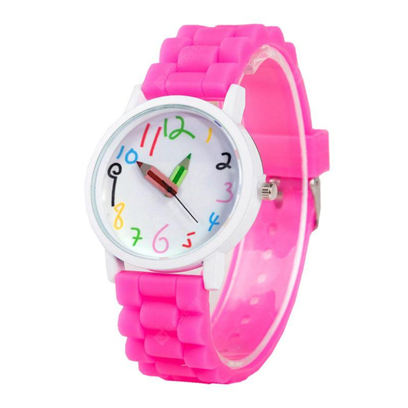 Simplified Cartoon Pencil Pointer Quartz Wrist Watch