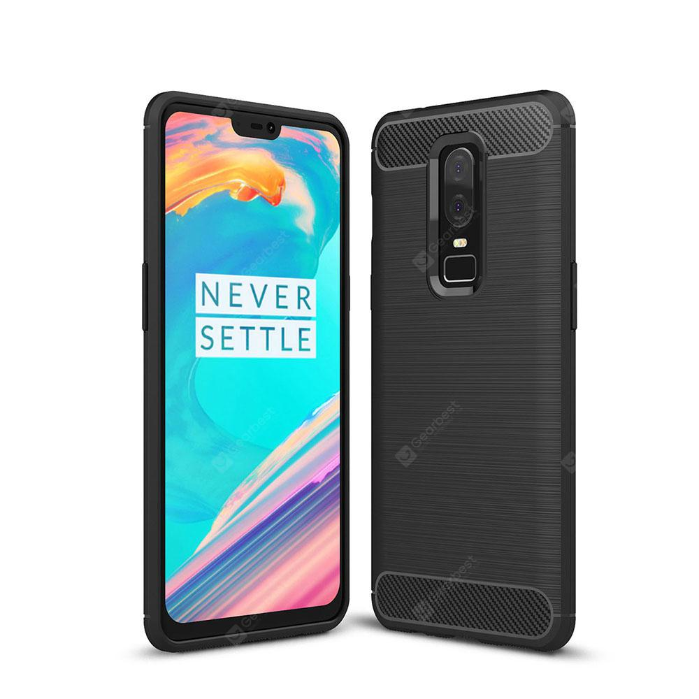 Case for OnePlus 6 Luxury Carbon Fiber Soft TPU Cover