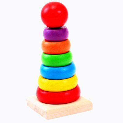 Wooden Rainbow Tower Children Assemble Puzzle Toys