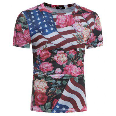 New Style Men's Fashion American Flag Rose Printed Short-Sleeved T-Shirt