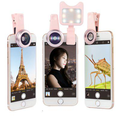 APEXEL APL-3663FL 0.36X Wide Angle Macro Selfie Light Mobile Phone Camera Lens fashionable 4 in 1 cat style clamp camera lens including fisheye telephoto macro and wide angle