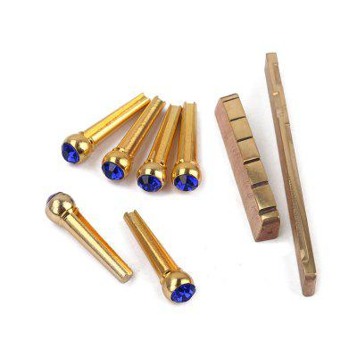 Universal Brass Nut Saddle Bridge Pins Set for Acoustic Guitar 1 kit classical guitar bone nut saddle rosewood bridge 12pcs bridge pins guitarra for guitar accessories and part kits