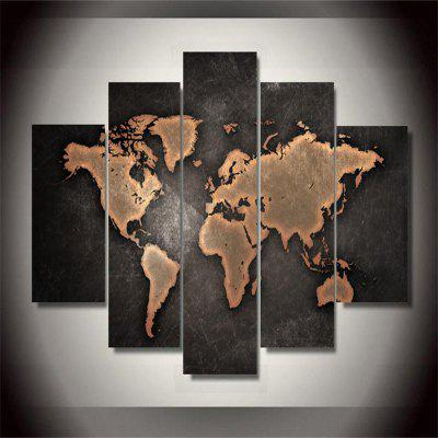 World Map Frameless Printed Canvas Wall Art Paintings 5PCS burning guitar pattern unframed wall art canvas paintings