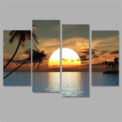 Sunset Frameless Printed Canvas Wall Art Paintings 4PCS burning guitar pattern unframed wall art canvas paintings
