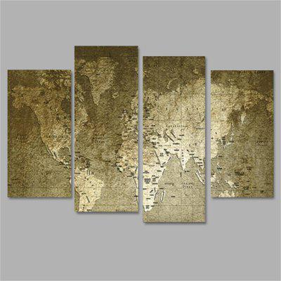 Old World Map Frameless Printed Canvas Wall Art Paintings 4PCS burning guitar pattern unframed wall art canvas paintings