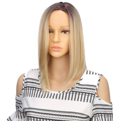 Synthetic Ombre Medium Straight Bob Hair Black Blonde Wigs with Skin for Girls natural straight short pixie cut hairstyle blonde wig side bangs synthetic hair wigs for women discount wigs pelucas pelo corto