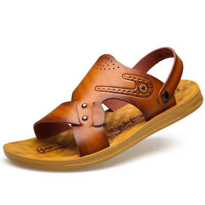 MUHUISEN Summer Men Sandals PU Leather Breathable Beach Slippers