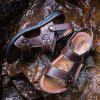 MUHUISEN Men Summer Leather  Beach Casual Shoes Outdoor Sandals - BROWN