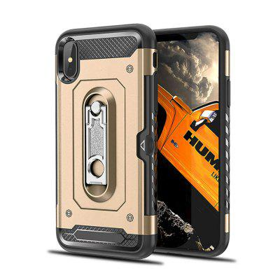 Kickstand Armor Case for iPhone X Card Holder Shockproof Cover never leather badge holder business card holder neck lanyards for id cards waterproof antimagnetic card sets school supplies
