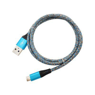 1METER Nylon Micro USB Cable Output 2.4A Fast Charge Wire