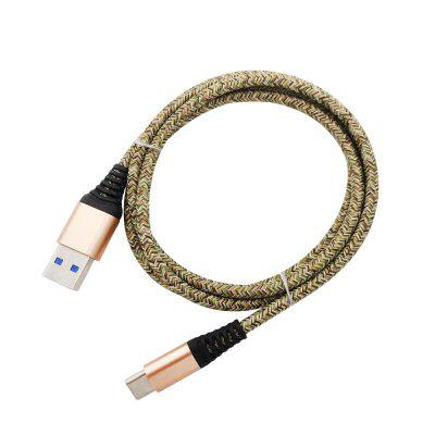 1METER Nylon Type-C USB Cable Output 2.4A Fast Charge Wire