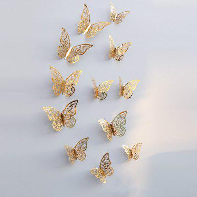 12pcs 3D mariposas Hollow DIY decoración etiqueta de la pared