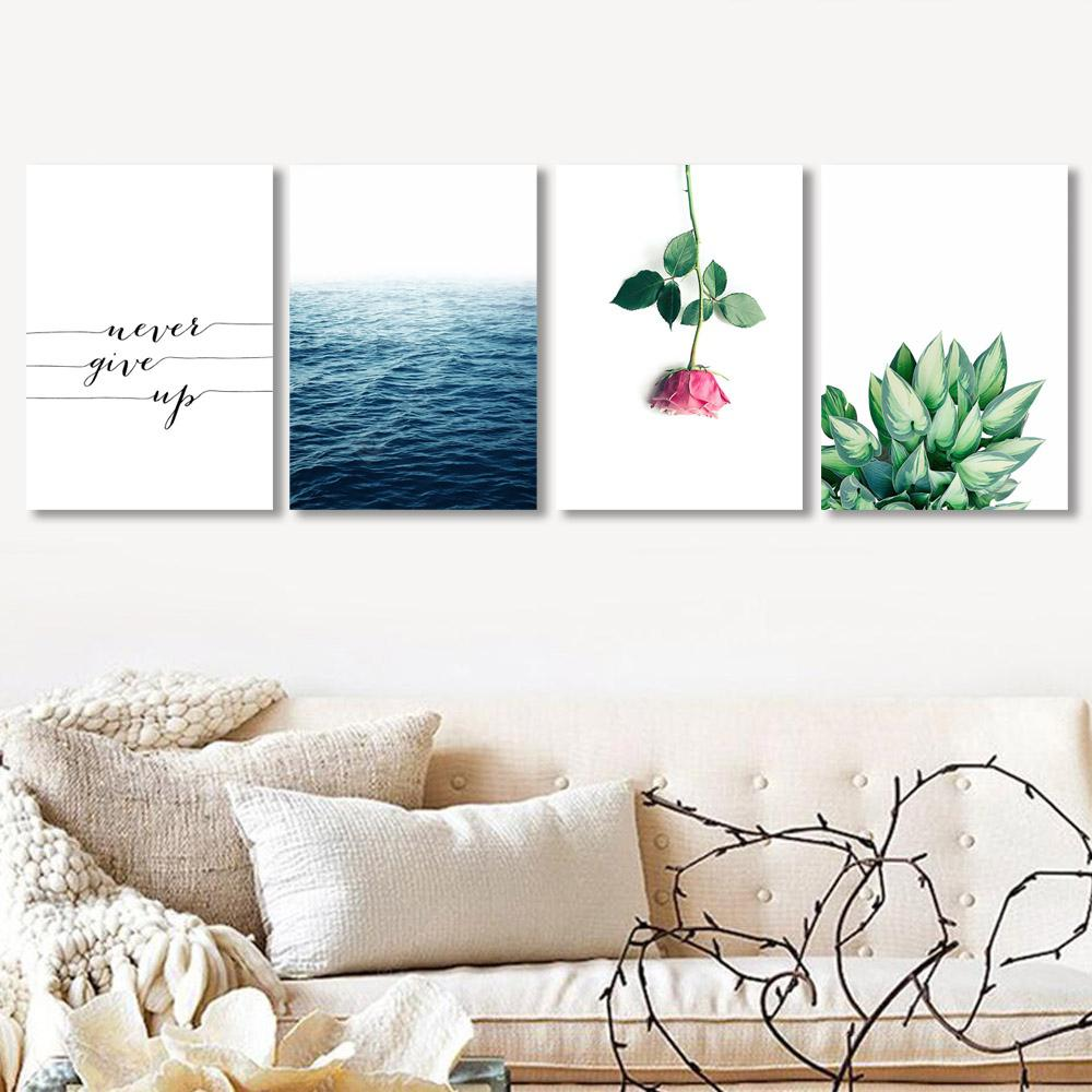 W307 Letters and Plants Unframed Wall Canvas Prints for Home Decorations 4PCS