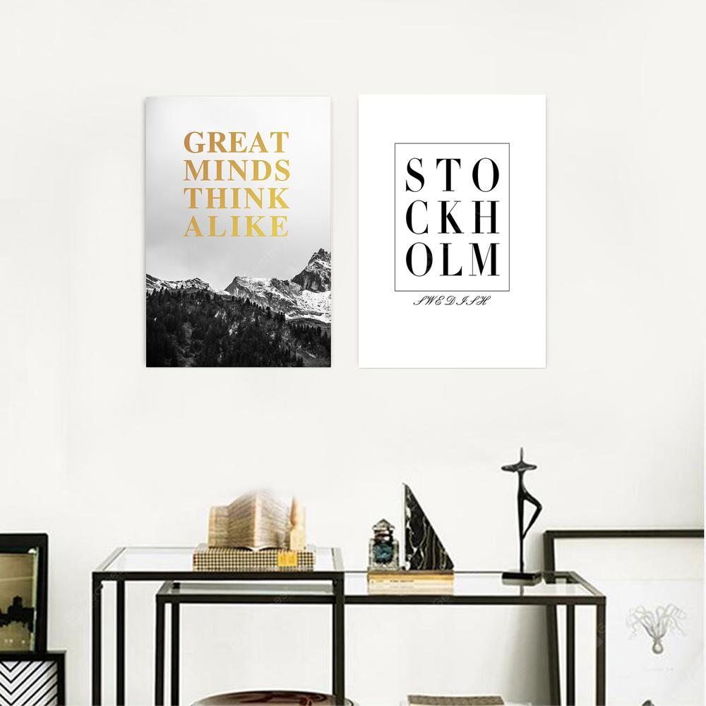 W309 Letters Unframed Wall Canvas Prints for Home Decorations 2 PCS