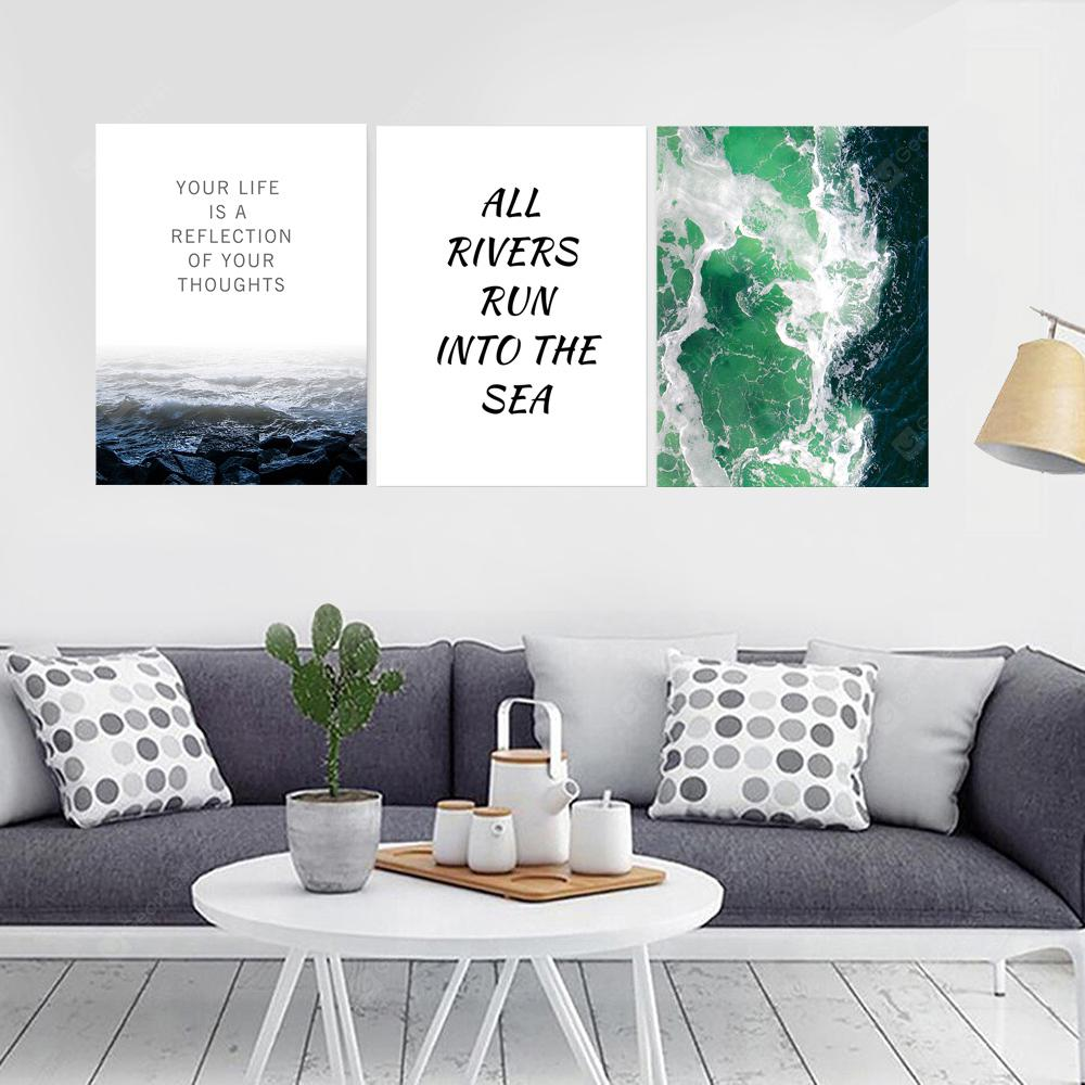 W310 Letters Sea Unframed Wall Canvas Prints for Home Decorations 3PCS