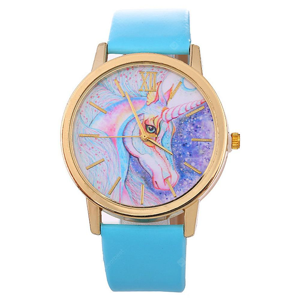 Fashion Creative Simple Leather Quartz Colorful Dress Watch