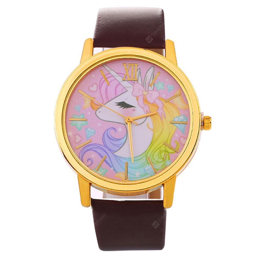 Fashion Colorful Women Leather Quartz  Dress Watch