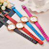 Fashion Simple Colorful Quartz Leather Analog Dress Wrist Watch - RUBY RED