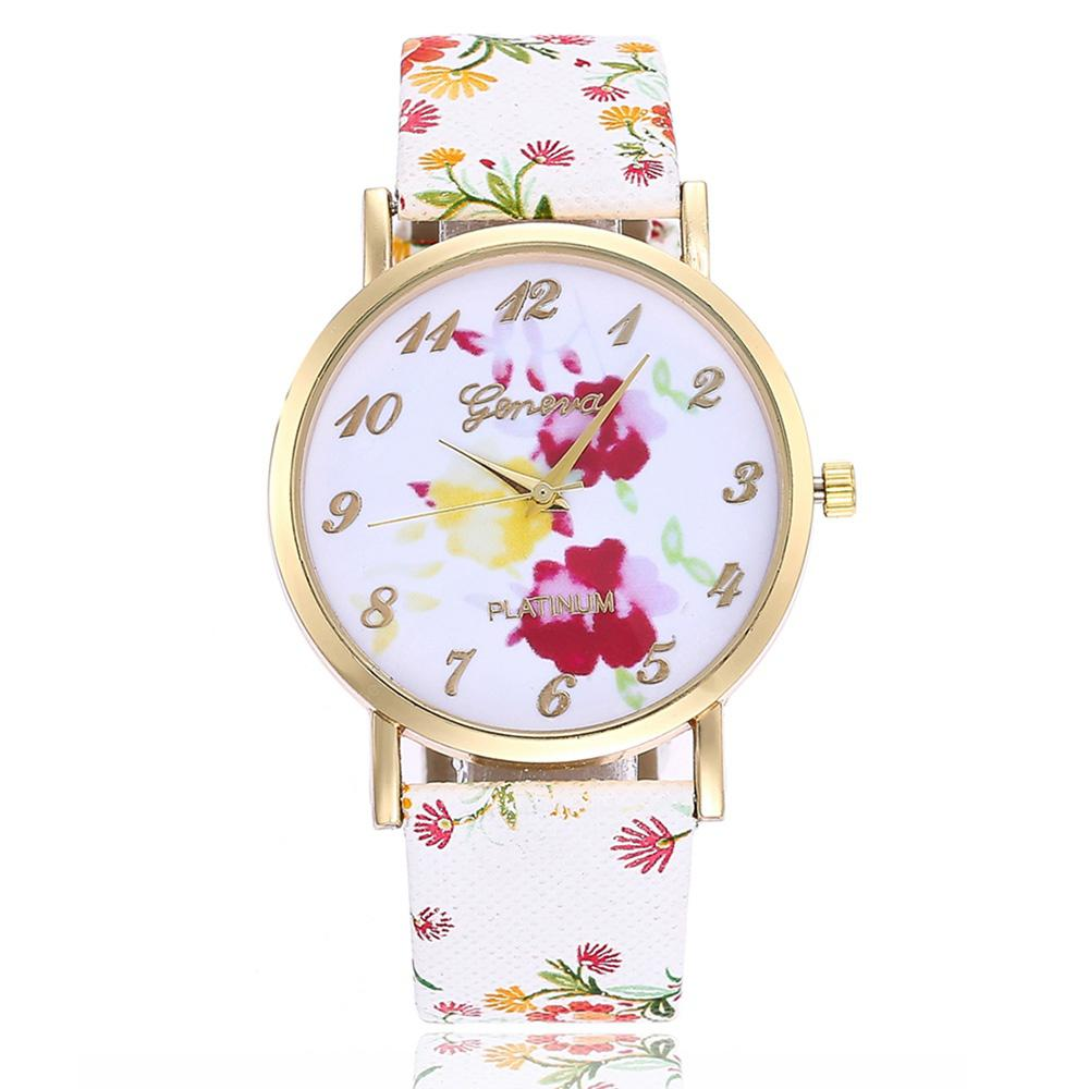 Geneva Fashion Creative Flower Quartz Rubber Dress Watch