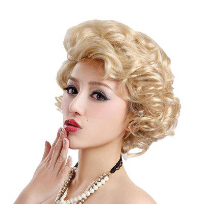 Synthetic Light Blonde Short Curly Hair Charming Cosplay Dancing Party Wigs natural straight short pixie cut hairstyle blonde wig side bangs synthetic hair wigs for women discount wigs pelucas pelo corto
