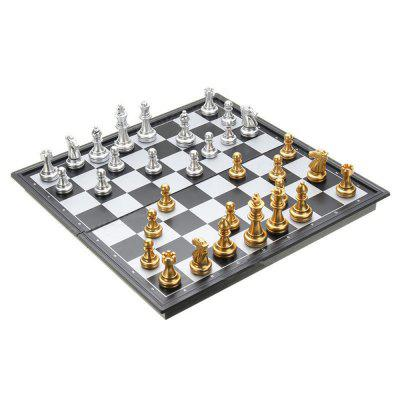Chess Game Silver Gold Pieces Folding Magnetic Foldable Board Contemporary Set high grade chess game wooden wpc chess folded board international magnetic game set exquisite puzzle games board game yernea