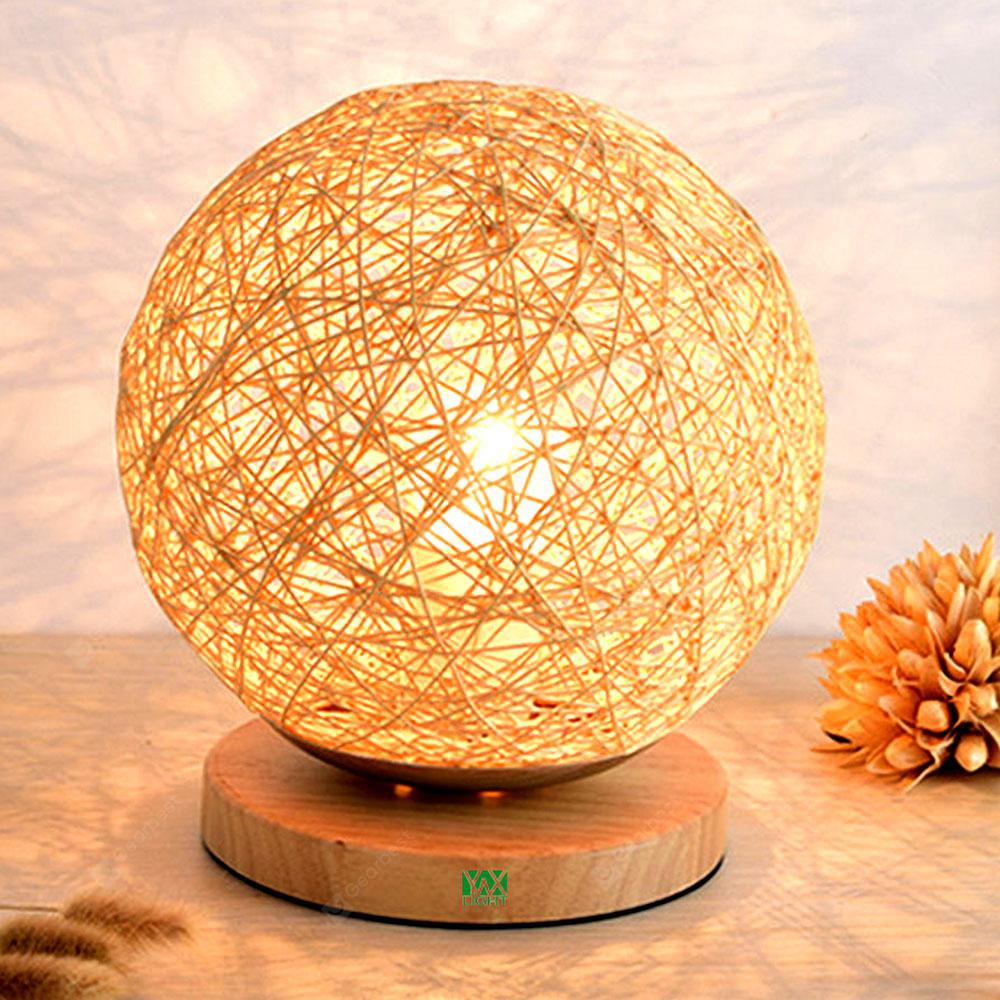 YWXLight Table Lamp  Protect Eyesight Takraw Wood for Home Bedroom Room