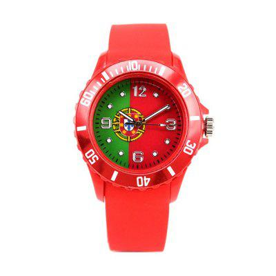 Portugal Flag Pattern Silicone Strap Football Fan Souvenir Sports Wrist Watches journey to portugal