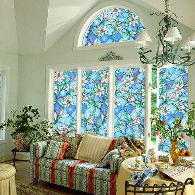 Orchid Stained French Window Film Glazed Door Decorative Sticker