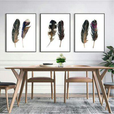 New Nordic Creative Living Room Feather Decoration Oil Painting 3PCS yhhp hand painted cartoon big mouth bird one panel canvas oil painting