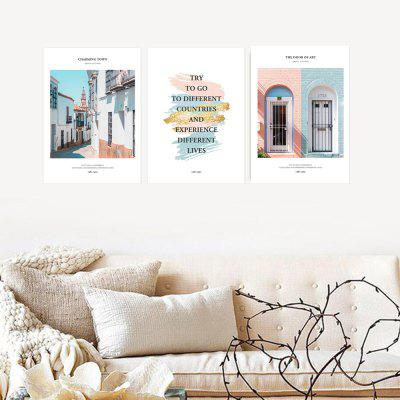 W312 Letters and House Unframed Wall Canvas Prints for Home Decorations 3PCS