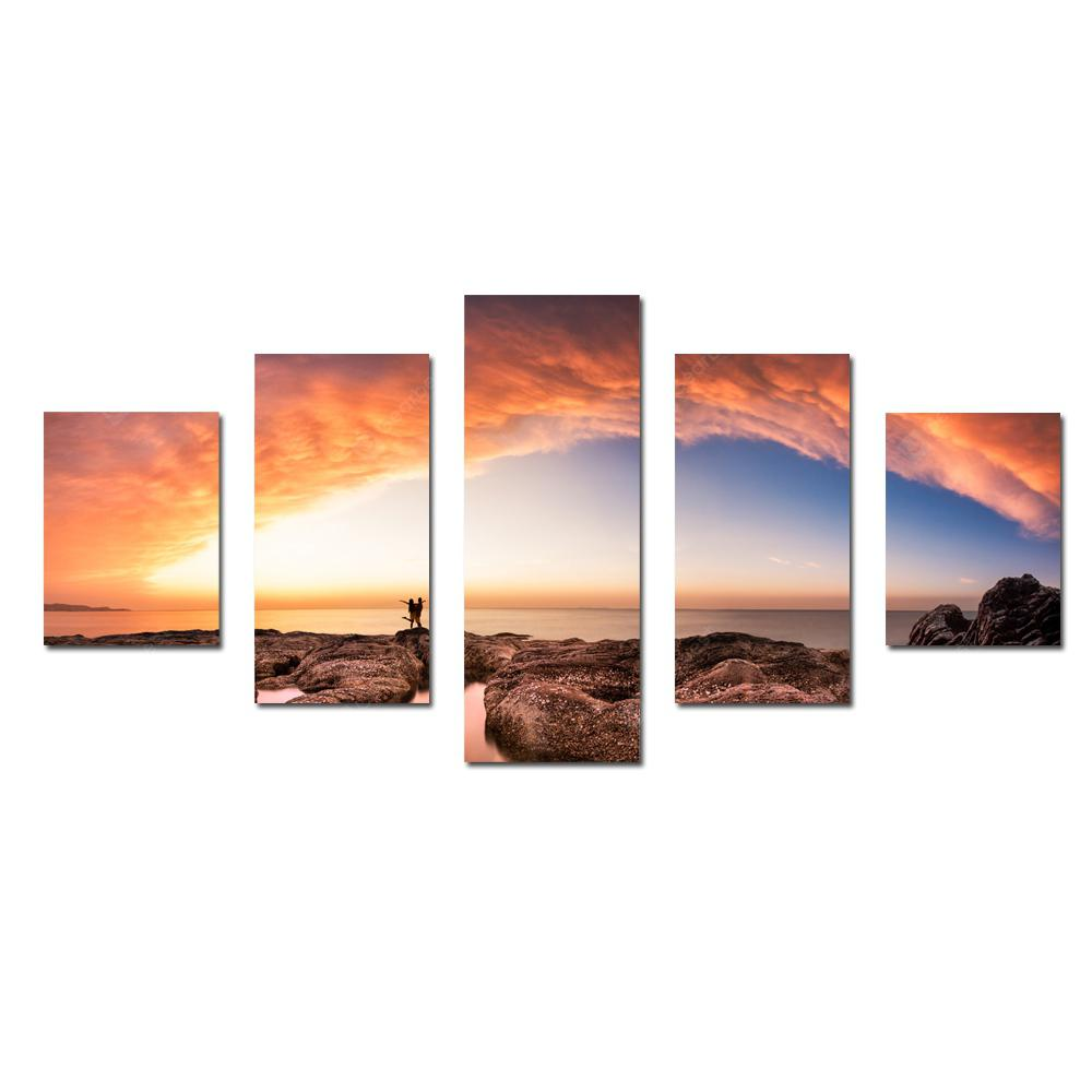W335 Seaside Scenery Unframed Wall Canvas Prints for Home Decorations 5PCS