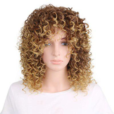 Women Golden Blonde Afro Curly Style Short Hair Synthetic Wig for Party casual ash blonde synthetic short curly wig for women