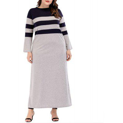 Middle Eastern Robes Clothing Round Neck Striped Long Sleeved Dress