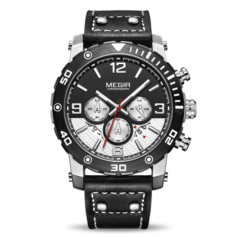 MEGIR 2084 Multi-Functional Leather Quartz Qatch