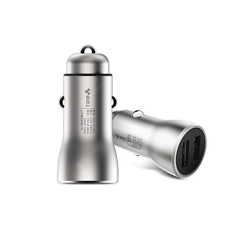 BULL 18W 3.6A Brass Dual USB Car Fast Charger - SILVER