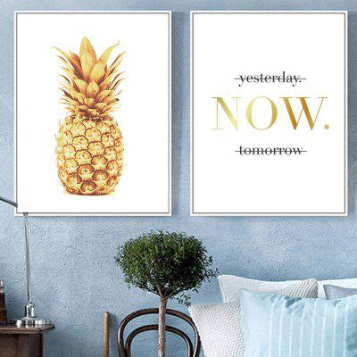 New Nordic Modern Golden Pineapple Ornament Oil Painting 2PCS yhhp hand painted cartoon big mouth bird one panel canvas oil painting