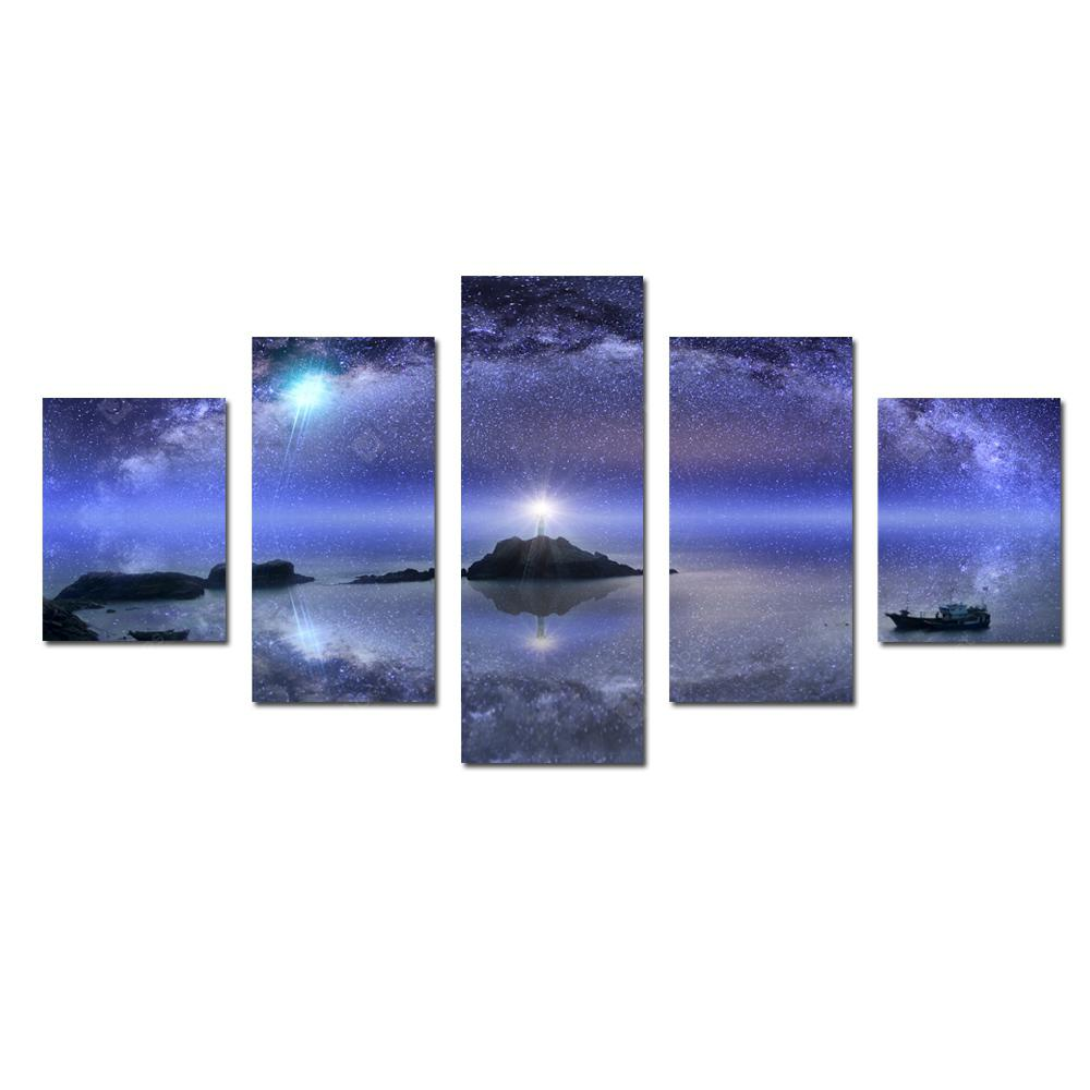 W342 Starry Sky Scenery Unframed Wall Canvas Prints for Home Decorations 5PCS