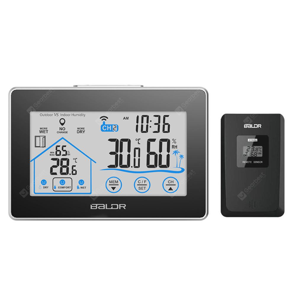 BALDR LCD Touch Digital Thermometer Wireless Sensor Indoor / Outdoor Humidity Meter Hygrometer Clock Weather Station