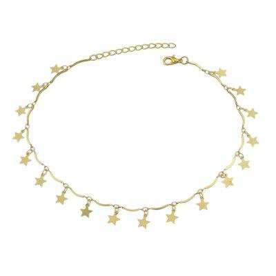 Gold-color Chain with Star Charms Choker Necklace