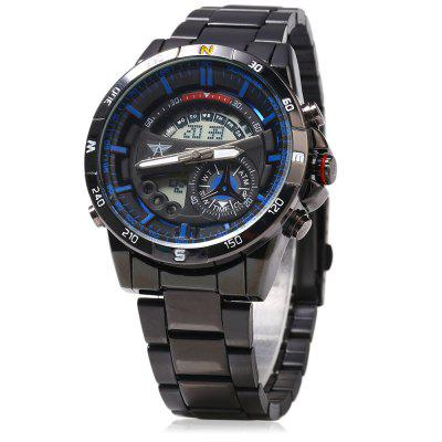 AMST Men's Casual Stainless Steel Band Double-movtz Business Quartz Watch