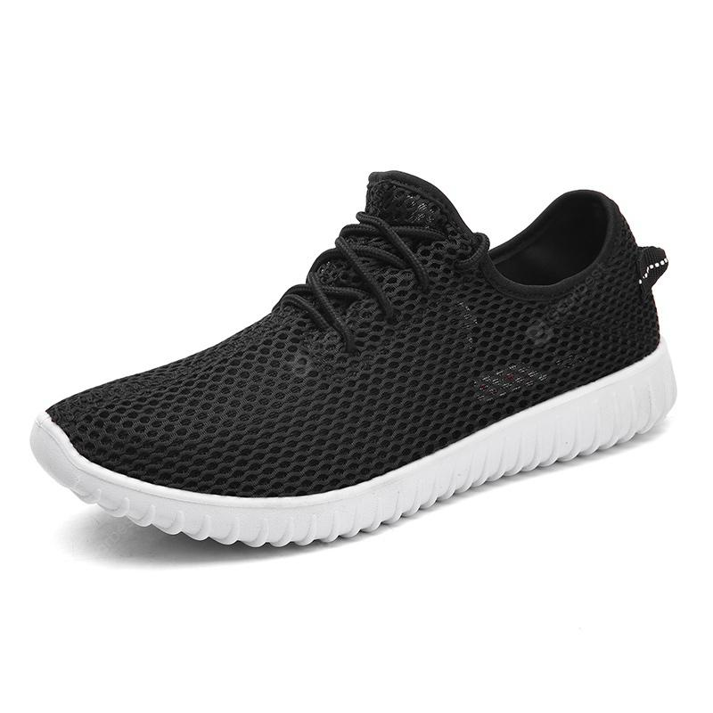 Men Shoes Breathable Sport Plus Size Couple Summer Drive Leisure Black Sneaker