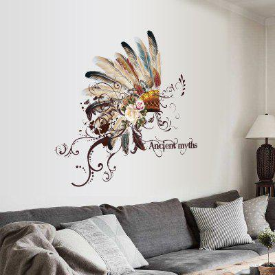 Removable New Creative Pretty Feather Hat Bedroom Living Room Decor Wall Sticker